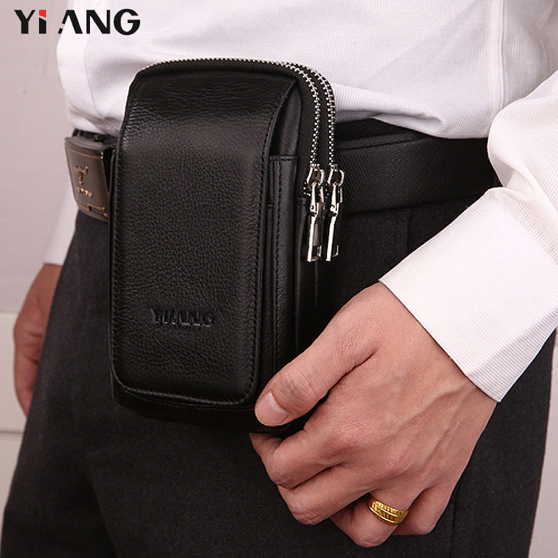 YIANG Waist Packs for Men Leather Mobile Phone Bags 2 Styles Waist Bag Fashion Belt Clip Bag Multifunction Design Zipper Pouch elastic waist color block panel pouch design trunk