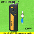 KELUSHI 20 mW 650n Rojo Fuente de Luz Visual Fault Locator Fiber Optic Cable tester Para LC/FC/SC/ST Adaptador de cable de fibra óptica CATV