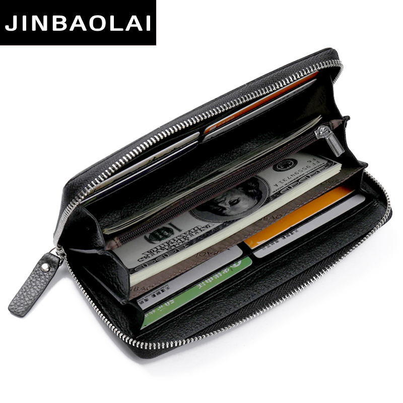 все цены на New Men Wallets Clutch Genuine Leather Brand High Quality Wallet Male Organizer Cell Phone Clutch Bag Long Coin Purse Wallet онлайн