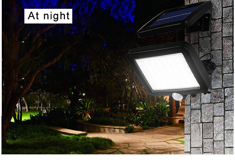 Waterproof Outdoor Solar Wall Light with 56 LED with PIR Motion Sensor for Garage and Yard 8