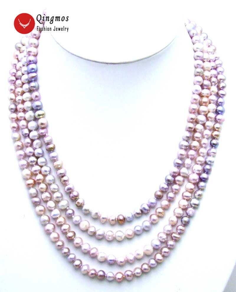 Qingmos collier de perles naturelles à la mode pour les femmes avec 6-7mm ronde violet perle 80