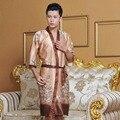 Novelty Male Silk Kimono Bath Robe Gown Chinese Men Rayon Nightwear Unisex V-Neck Sleepwear Pajama Pijamas Plus Size 011301
