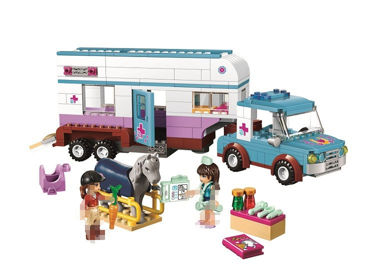 цена на Lepin 10561 Friends Series Horse Vet Trailer Touring Car Model Building Block Bricks Compatible With Lego Best Toys For 41125