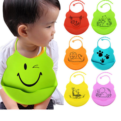 Lovely Infant Baby Kids Silicone Cartoon Bib Baby Lunch Feeding Bibs Waterproof