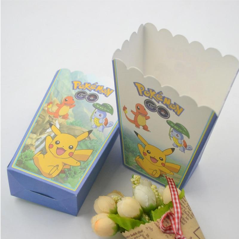 6pcs/lot Pokemon Birthday Party Supplies Popcorn Box pokemon pikachu Favor Accessory Birthday Party Supplies Kids Party Supplies
