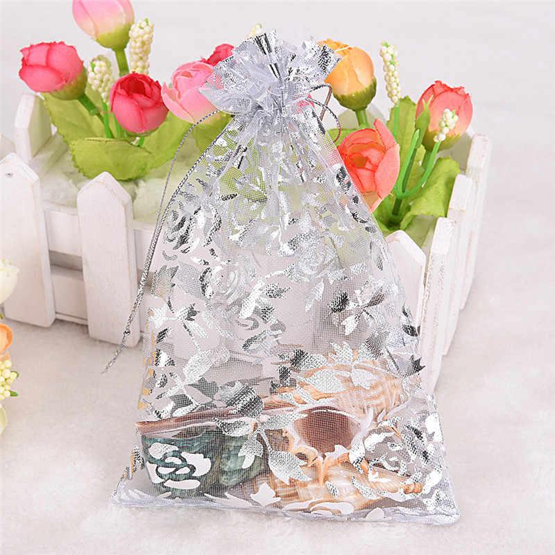 10Pcs Organza Permen Perhiasan Pernikahan Hadiah Tas Warna Campuran untuk Pesta Liburan Tahun Baru Menggunakan Acak Kirim 7*9/9*12/11*16 Cm