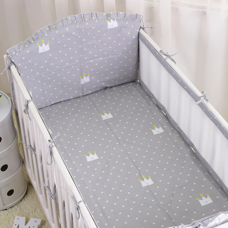 Summer Breathable Baby Bumpers Safe Kids Baby Crib Bumper Sets   Infant Bedding Sets Sheet Crib Liner Cot Around Protector 6PCS