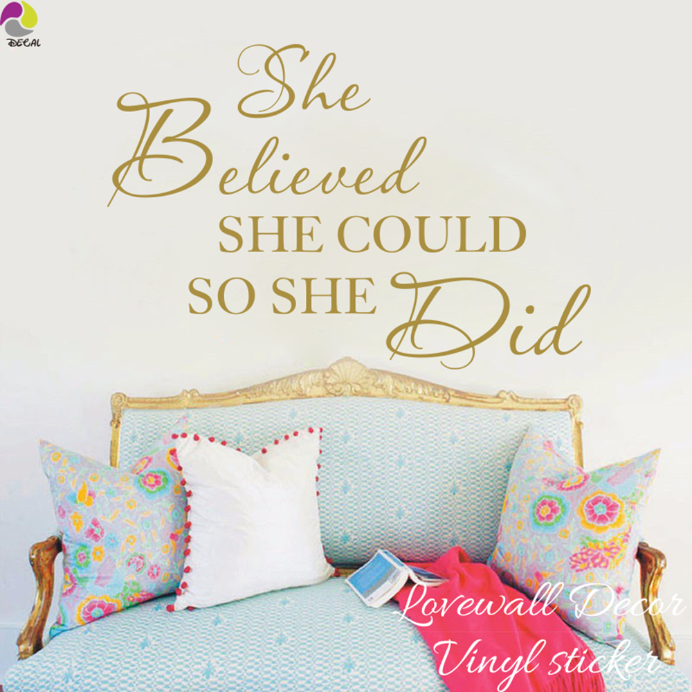 high quality quotes baby promotion shop for high quality she believed she could so she did quote wall sticker baby nursery girls room inspirational motivational quote decal kids room