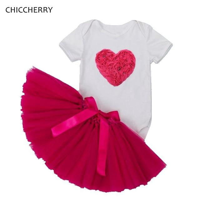 3D Rose Valentine Baby Tutus Newborn Bodysuit Set Heart Wedding Lace Skirt Ropa De Bebe Toddler Jumpsuit Infant Baby Clothes