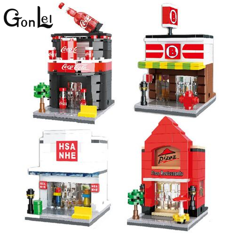 GonLeI Store Model HSANHE City street Series 4 models Building Blocks Pizza shop Mini Street Best gift Toys Assembled Bricks managing the store