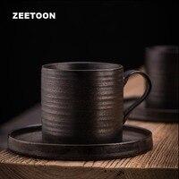 150ml / 260ml Vintage Cup with Saucer Kit Ceramic Matte Drinkware / Master Breakfast Mik Juice Cups Handle Mug Japanese Style