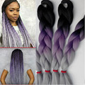 Purple Ombre Braiding Hair  100G 10Pcs Crochet Braids Hair Extension 24inch Omber Jumbo Braiding Hair Three Tone Color