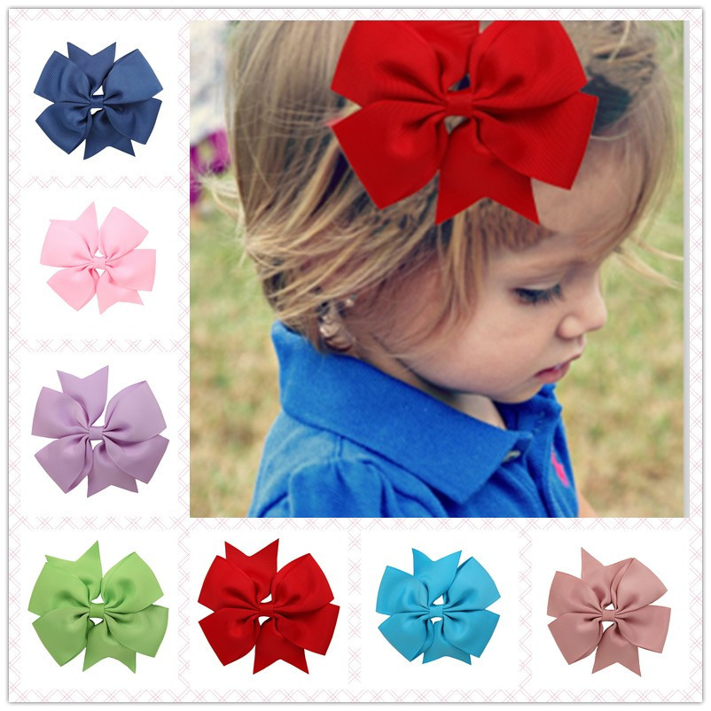 Children Ribbed Bowknot Girls Ribbon Hairpins Hair clips Colorful Barrettes Kids Bow Knot   Headwear   V-shaped