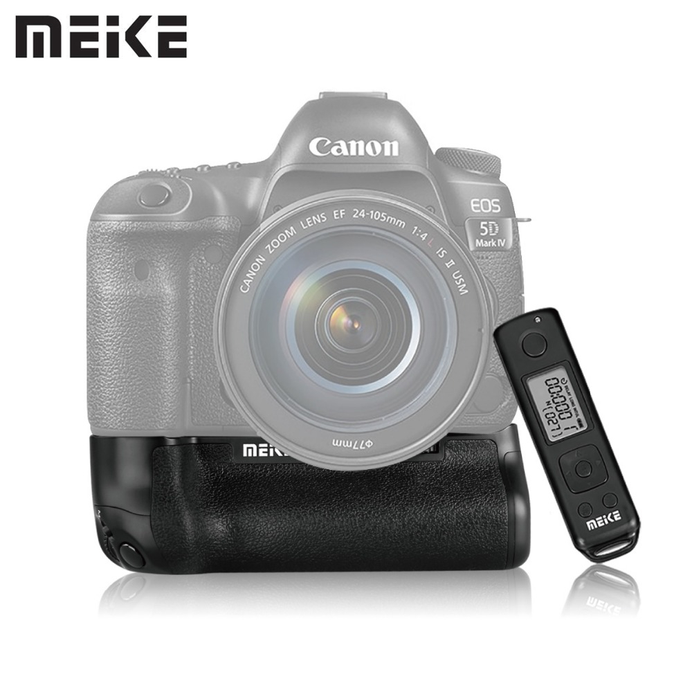 MEKE MK-5D4 PRO Battery Grip With wireless remote for Canon 5D Mark IV Camera as BG-E20 Compatible for LP-E6 LP-E6N Battery puluz camera vertical battery grip for canon eos 5d mark iv dslr camera replace bg e20 compatible for lp e6 lp e6n battery
