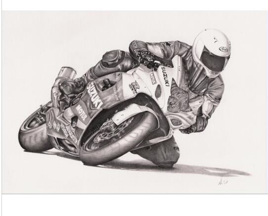 Moto racing, dessin, HOM Décor Réaliste Peinture À L\'huile Sur Toile ...