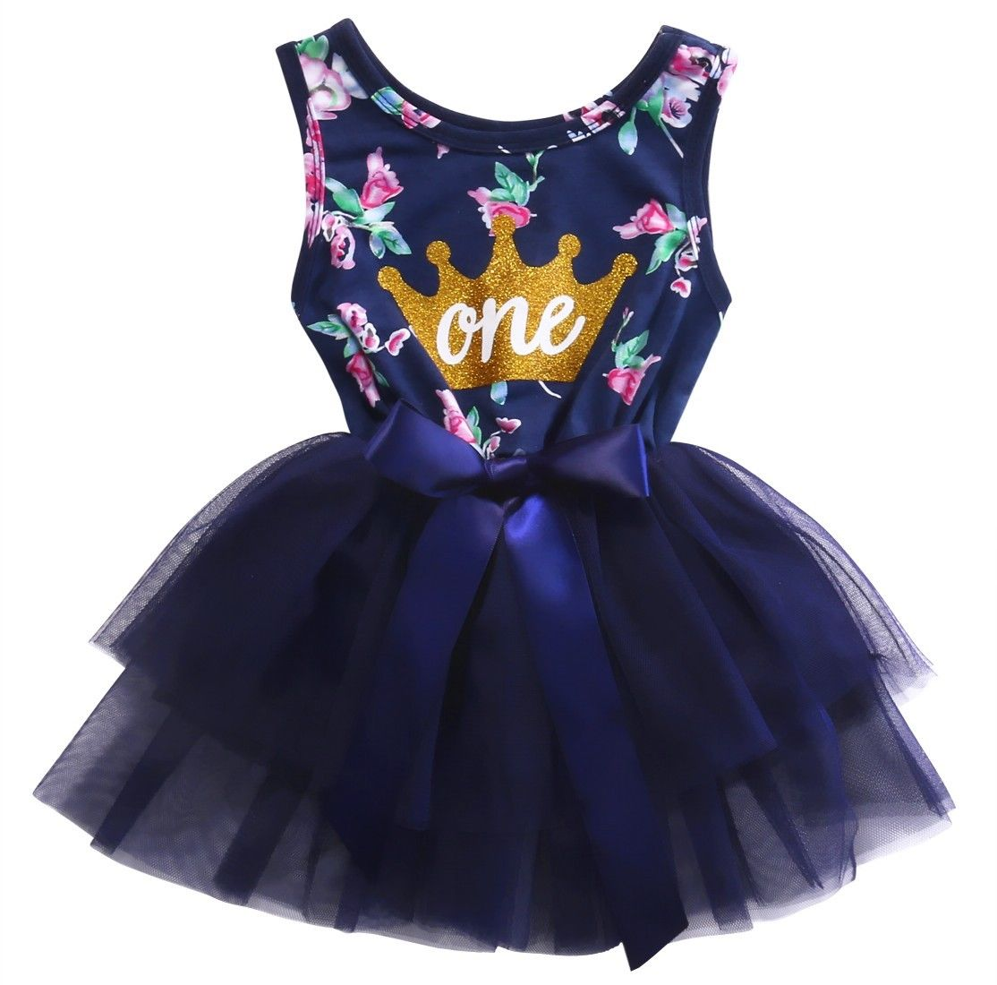 Newborn Baby Girls Sleeveless Princess Dresses Floral Crown One Print Sundress Summer Ruffle Lace Tulle Party Dress Clothes
