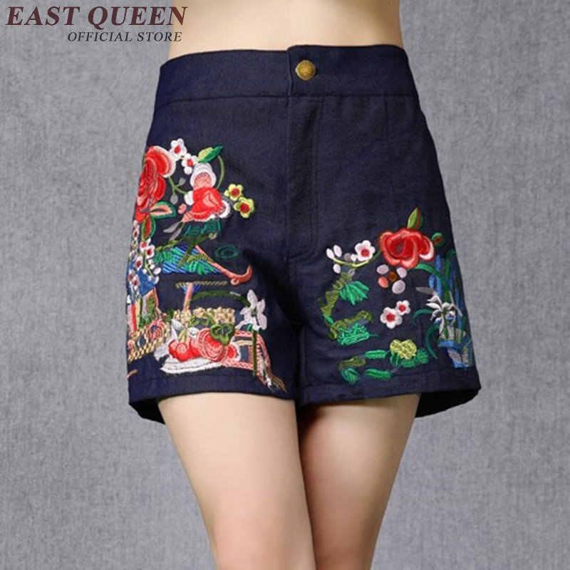 Schwarz Chinesischen Hosen Ethnische Shorts Weibliche 2019 Sommer Folklore Stickerei Vintage Pantacourt Taste Online Chinesische Shop AA3914