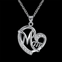 Heart Shaped Mom Silver Pendant