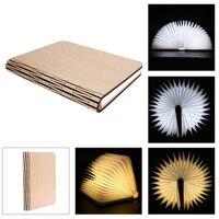 Creative Design Foldable Book Lamp 5V 300mA LED Induction Wooden Folding Book Shaped USB Rechargable Reading