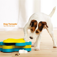 Dog Tornado Tap & Flip Treat Toy Pet Puppy High IQ Development Training Interactive Educational Game Snack Reward Feeder