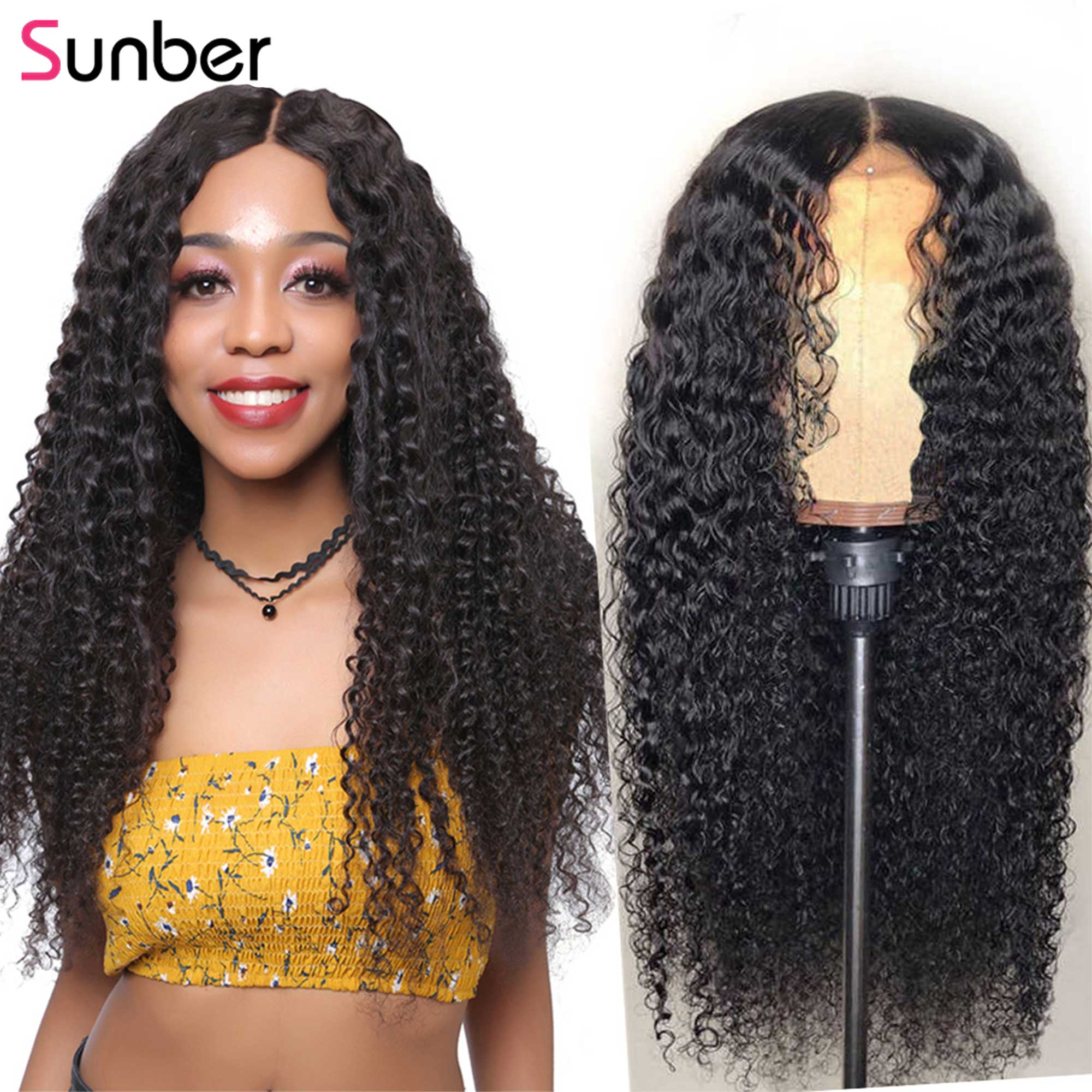 Sunber Peruvian Deep Curly Lace Wigs Pre Plucked With Baby Hair 13x4 6 150 180 density