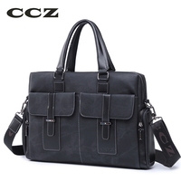 CCZ Mens HandBag Fashion Crossbody Bag Briefcase For Men 14 Laptop Computer Bag PU Leather Bag