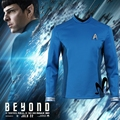 Star Trek За Командира Спок косплей костюм Маккой Blue Star Trek рубашка Хеллоуин костюм Spock Star Trek Равномерное бесплатный бейдж