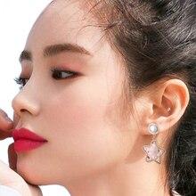 Wholesale Fashion Star Bead Women Female Earrings Shell Imitation Pearl Alloy Dripping Oil Dangle Earring