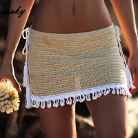 c2f17d2023f05 High Quality IASKY 2019 Crochet beach cover ups skirts sexy women hollow  out bikini swimsuit swimwear cover up beach dress