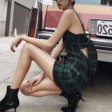 Women Sexy Bow Low-cut Plaid Print Dress Summer Sleeveless Ladies Bag Hip Backless Vintage Sling Pencil