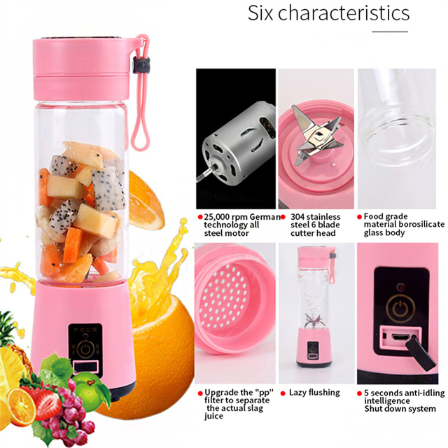 380ml  USB 6 lâminas mini liquidificador portátil juicer cup juice blender suco espremedor de laranja Saúde Casa elétrico espremedor de frutas smoothie maquina de suco extratora blender liquidificador espremedor Saúde