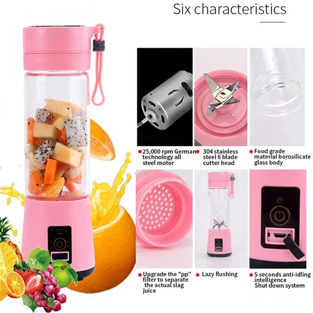 WXB USB Charging 6 Blades Portable Juicer Juice Smoothie Smothie Maker Smoothie Blender  Extractor Batidora Be Machine Household