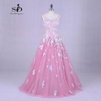 Beach Wedding Dress Bride Dress Pink 2018 SoDigne Lace Applique Wedding Dress Newest Coming Bridal Gown Elegant
