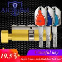 Door Lock Brass Cylinder Single Open Sided Blade Break Anti Pry Stainless Steel Bar Brass Snake Groove Cylinder Color 8 Keys