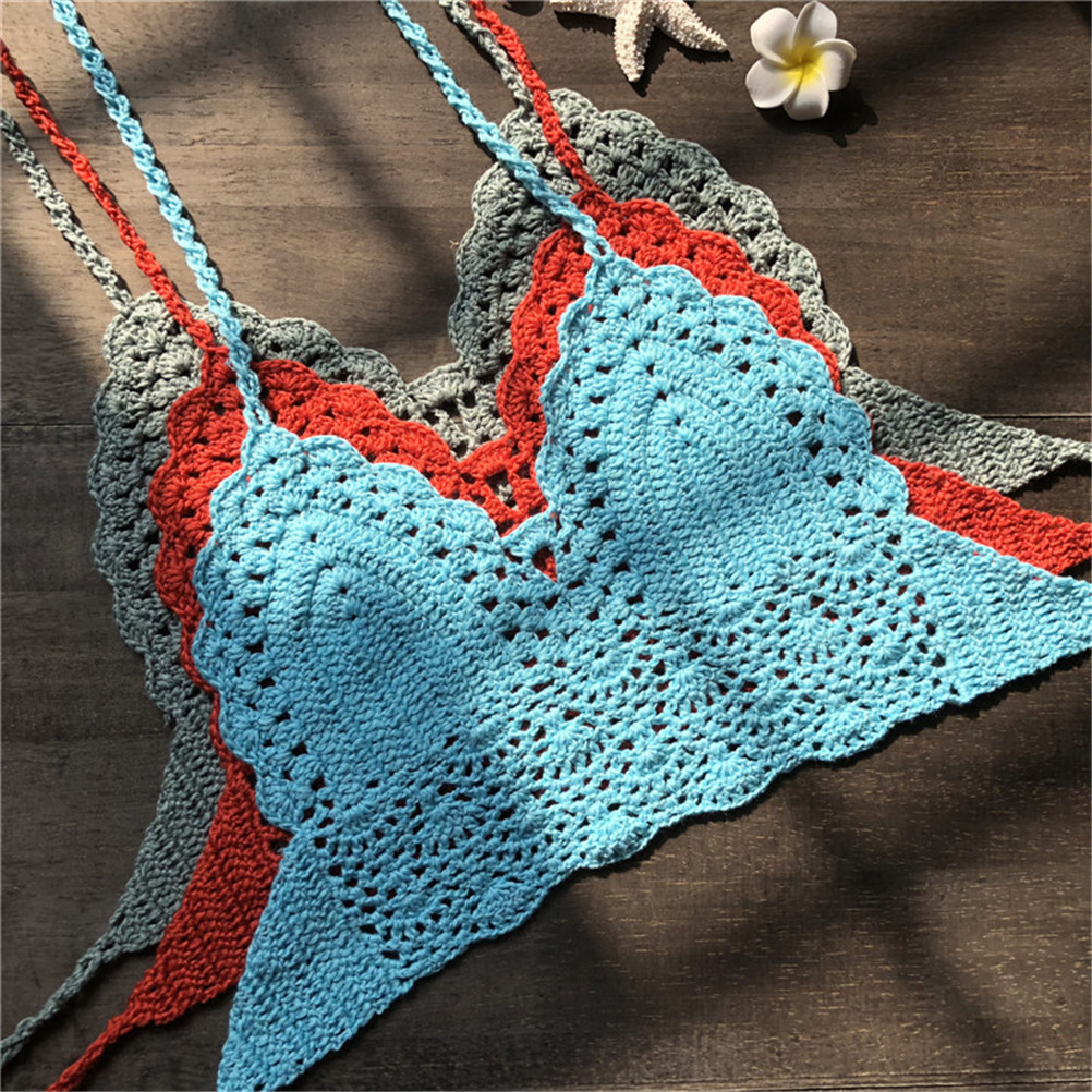23b879e175 New Knit Crochet Cami Summer Bikini Beach Crop Top Women Bralette Halter  Neck Crop Tops-in Camis from Women s Clothing on Aliexpress.com
