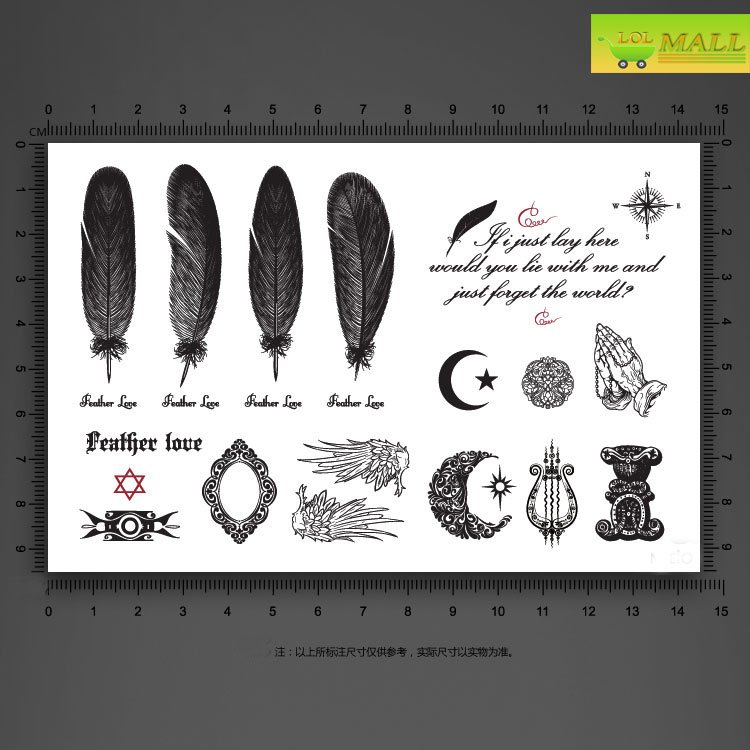 many designs eathers wings Mirror Temporary tattoo Waterproof body tattoo stickers body art#TA094
