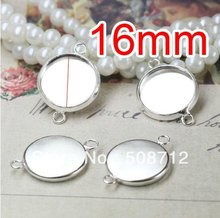 Free shipping!!! 200pcs silver plated  Double rings Cameo Frame Settings Connectors fit 16mm