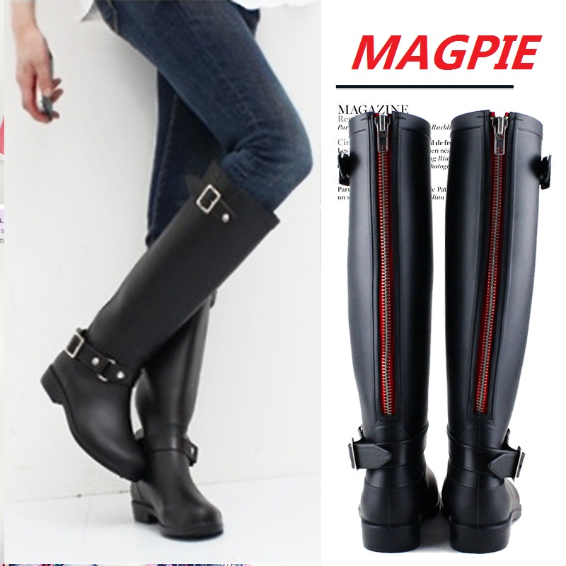 ФОТО Hot Sales Ladies Unique New Arrival Punk Design Back Zip Fashion Horse Rain Boots Women Fashion Horseriding Boots Lady RainBoots