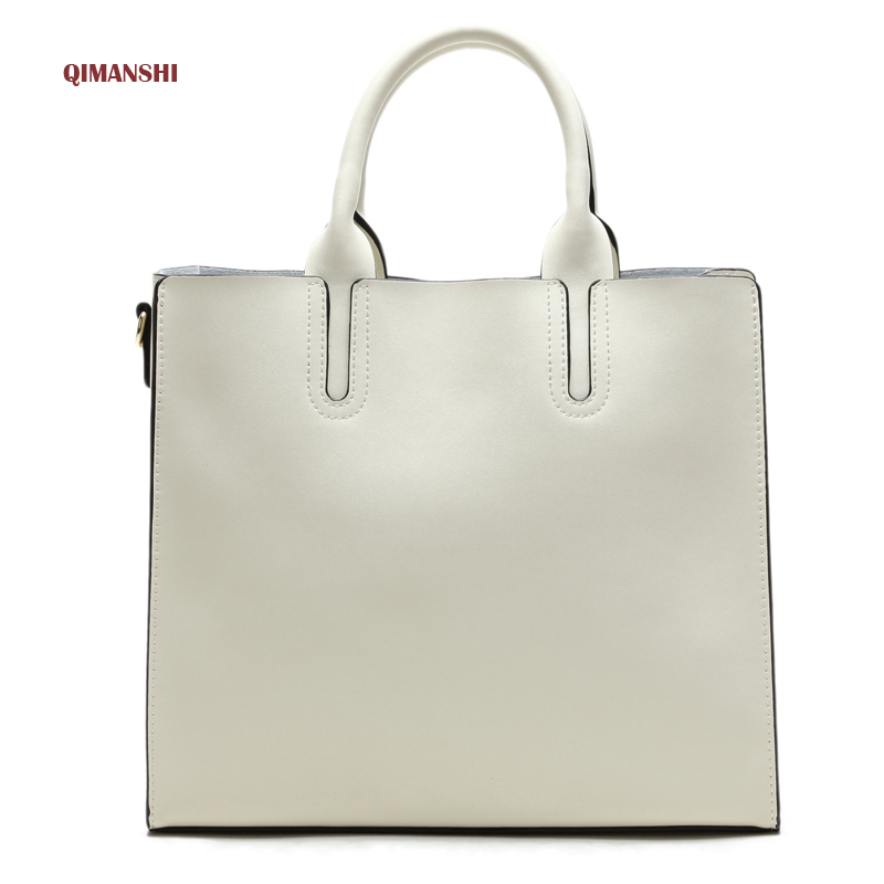 QIMANSHI Genuine Leather Bags Handbags Women Famous Brands Big Casual Women Bags Tote Brand Shoulder Bag Ladies Bolsos Mujer new genuine leather bags for women famous brand boston messenger bags handbags tassel tote hand bag woman shoulder big bag bolso