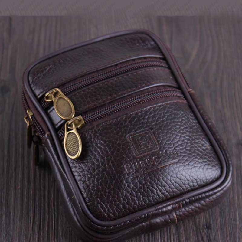 Bycobecy Vintage Koe Lederen Multifunctionele Mannen Taille Pack Slijtvaste Outdoor Portemonnee Slijtage Riem Pocket Telefoon Coin taille Tas