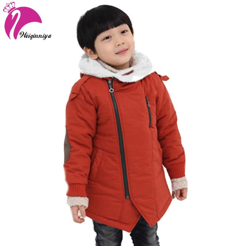Детская куртка модная зимняя куртка для мальчиков добавить хлопок кашемир теплый с капюшоном дети пальто с мехом Детская Верхняя одежда ку...
