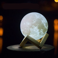 Night Light Creative 3D Print Moon Lamp Lunar USB 2 Color Rechangeable Table Lamp Relaxing Healing