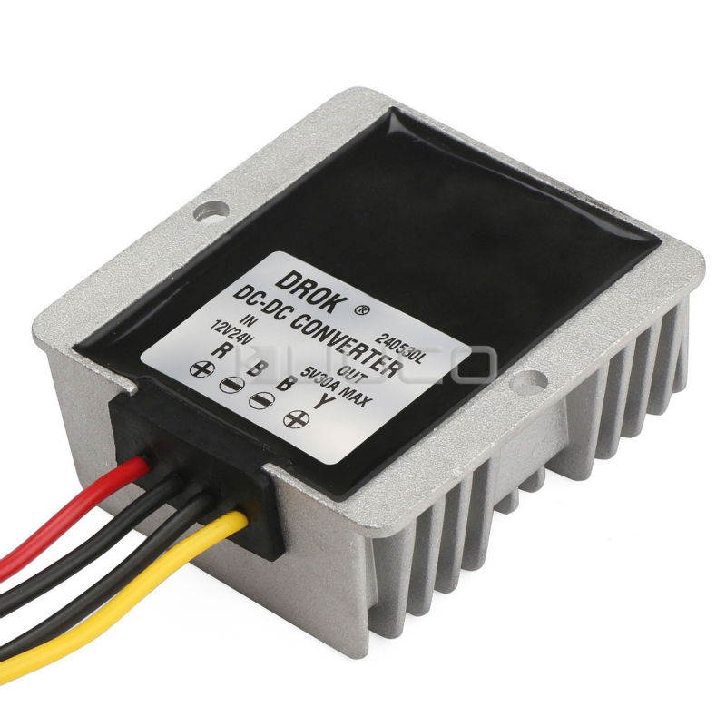 150W Buck Power Supply Module DC 12V/24V to 5V 30A Step Down Converter/Car Adapter/Voltage Regulator/Driver Module Waterproof lm2596 multiple output power supply module dc 5 40v to 3 3v 5v 12v adj 4 way buck converter voltage regulator adapter driver