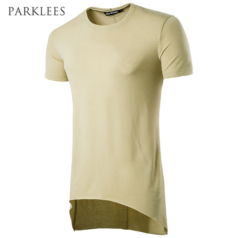 Longline T Shirt Men 2017 Summer Hip Hop Streetwear Raw Seam Mens T-shirts Extended Long Oversized Drop Hem Tee Shirt Homme XXL