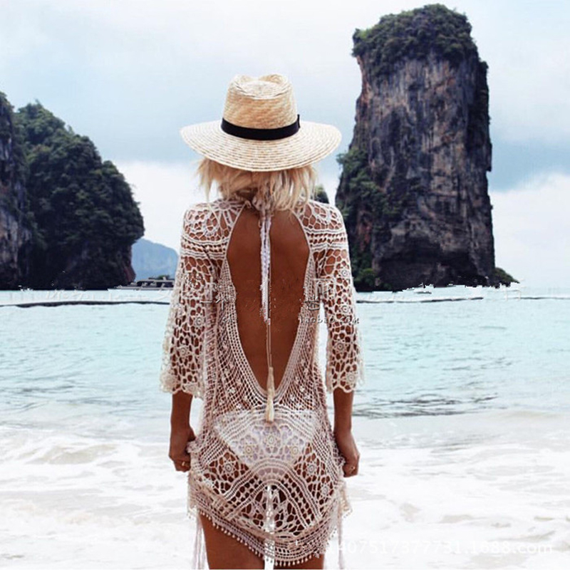 Hollow Out White Black Crochet Cover Up Smocks Summer Beach Cardigan Half Sleeve Sexy Backless Top
