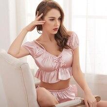 Silk Satin Pajamas Sets Women V-neck Ruffles Sexy Navel Suits Strap Sleepwear Nightwear Home Clothes 2 piece set