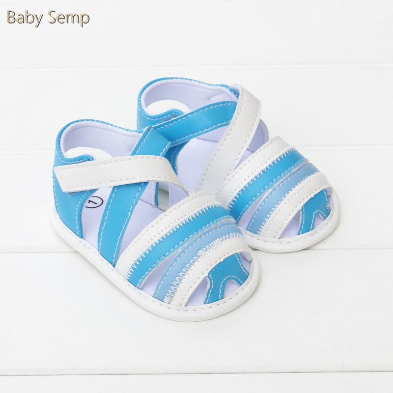 Baby Shoes Sandals 2017 Summer Infant Clogs Blue Pu Leather Newborn Girl Sandals Flat With Cute