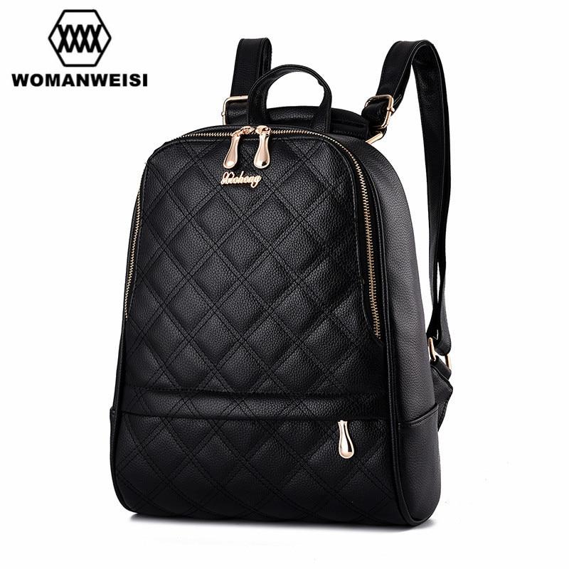 Mochila Feminina Brand New Design Classic Diamond lattice Women Backpacks Preppy Style School Bag Satchel Female Travel Bagpack