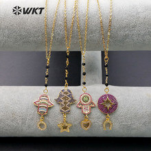 WT-MN911 Wholesale Custom Micro Paved Cubic Zirconia Necklace Lovely stars, moon, palm CZ Necklace For Women Gift(China)