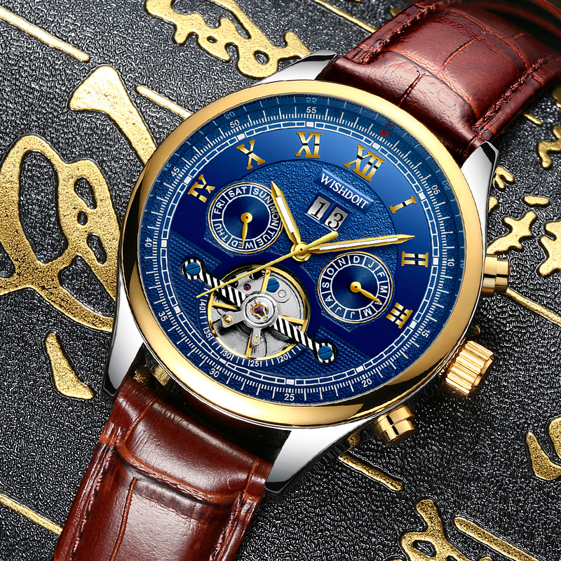 WISHDOIT New mens watches top brand luxury Fashion casual sports men business automatic mechanical watchs Men's watch Male clock business sports military stainless steel watch top luxury brand winner black watch men casual male automatic mechanical watches